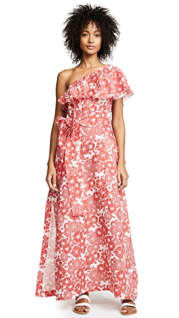 Lisa Marie Fernandez Arden Tomato Floral Linen Flounce Dress