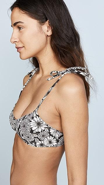 Lisa Marie Fernandez Nicole Black Floral Crepe Bikini