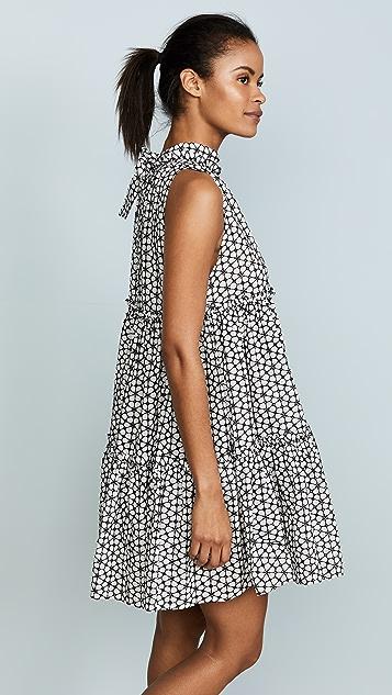 Lisa Marie Fernandez Erica Mini Ruffle White & Black Eyelet Dress
