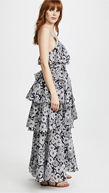 Lisa Marie Fernandez Imaan Black Floral Tier Dress