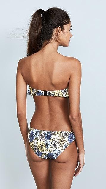 Lisa Marie Fernandez Natalie Multi Floral Denim Flounce Bikini