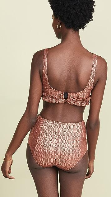 Lisa Marie Fernandez Colby Button High Waisted Bikini Set