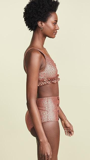 Lisa Marie Fernandez Комплект бикини Colby с высокой талией и пуговицами