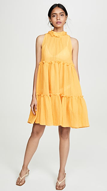Lisa Marie Fernandez Erica Ruffle Mini Dress