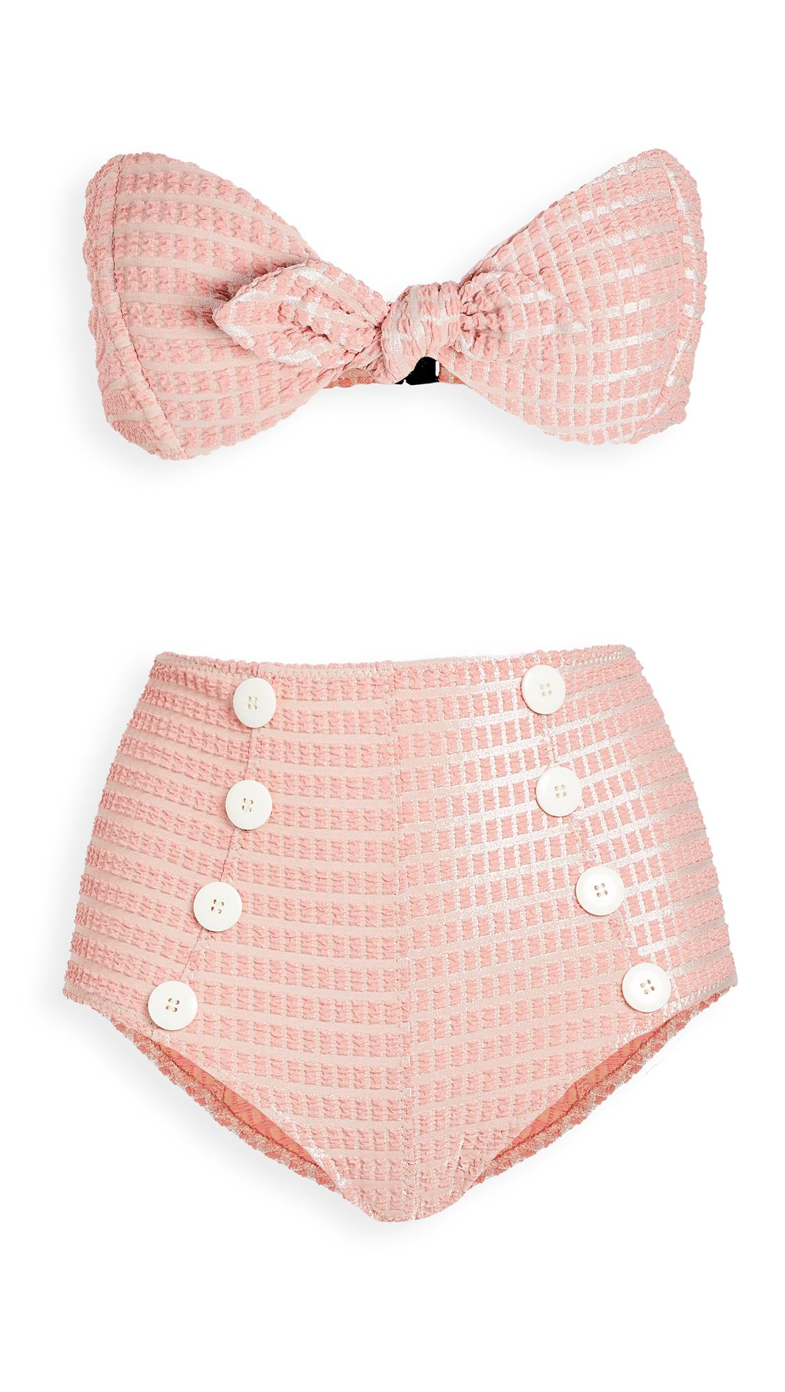 Lisa Marie Fernandez Poppy Button High Waist BIkini Set
