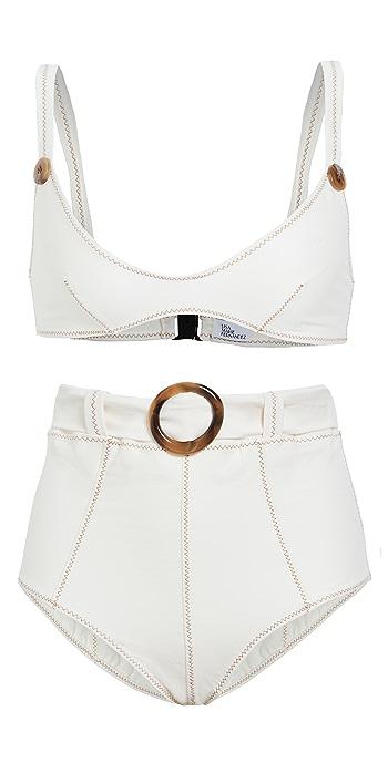 Lisa Marie Fernandez Magdalena Belted High Waist Bikini Set - Cream Denim