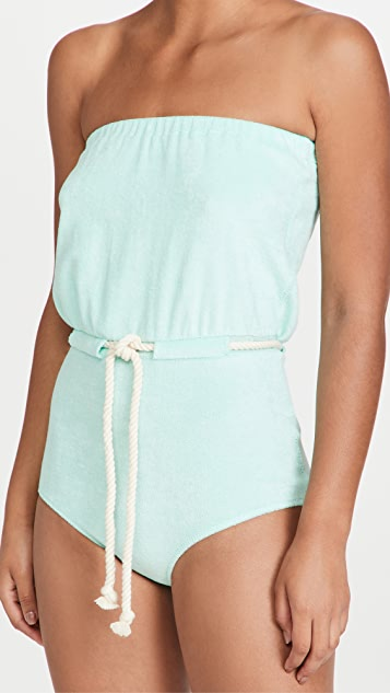 Lisa Marie Fernandez Victor Drawstring Maillot One Piece Swimsuit
