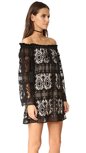 LIV Mantilla Off the Shoulder Dress