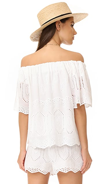 LIV Ellis Off the Shoulder Eyelet Top