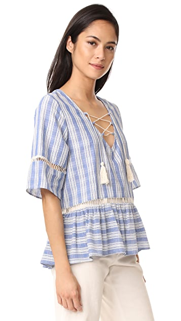 LIV Mode Lace Up Stripe Top