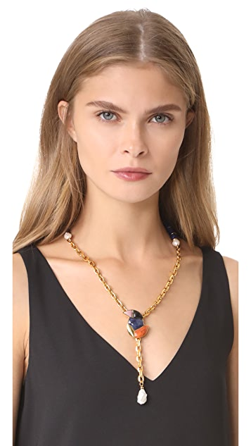 Lizzie Fortunato Songbird Chain Lariat Necklace