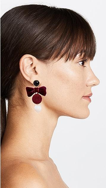 Lizzie Fortunato Burgundy Bow Earrings