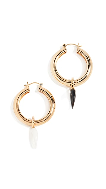 Lizzie Fortunato Large Gold Metal Hoops with Charms