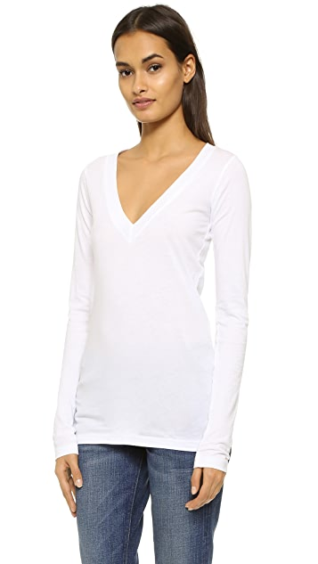 LNA Long Sleeve Deep V Top