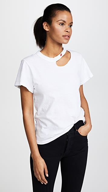 LNA Kissed Embroidered Tee - White