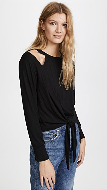 LNA Lurque Ribbed Tie Front Tee