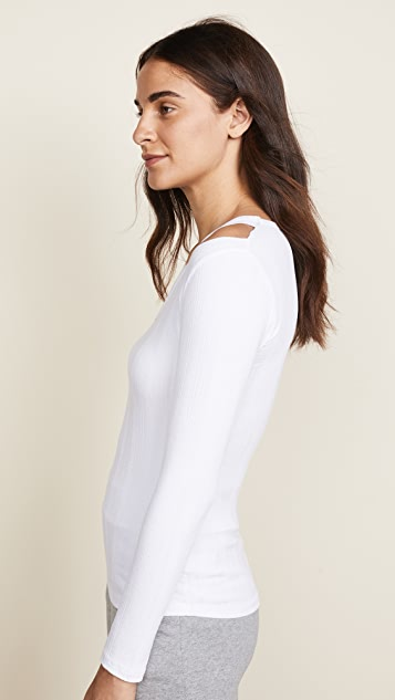 LNA Vera Ribbed Long Sleeve Top