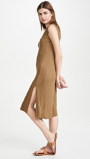 LNA Легкое платье без рукавов из ткани в рубчик