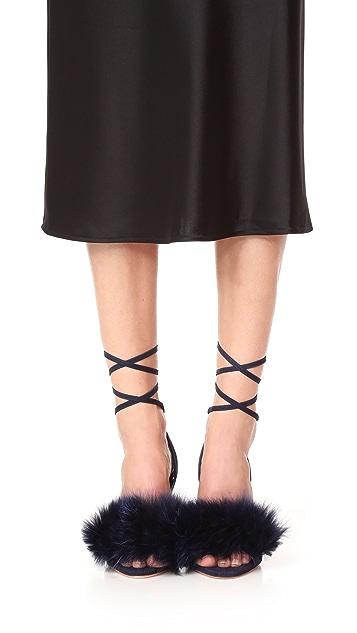 Loeffler Randall Nicolette Strappy Fur Sandals