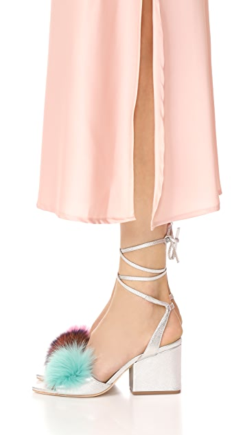 Loeffler Randall Nicky Block Heel Strappy Fur Sandals