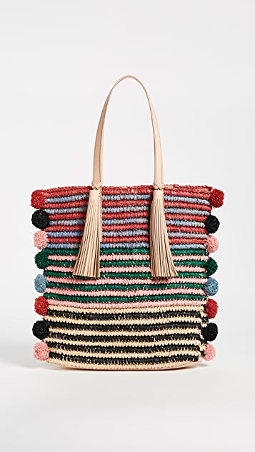 Loeffler Randall Cruise Tote With Poms - Rainbow