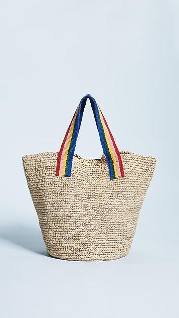 Loeffler Randall Straw Tote Bag - Natural/Multi Stripes