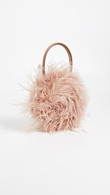 Loeffler Randall Круглая объемная сумка с короткими ручками Zadiea с перьями