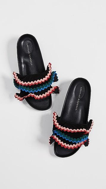 Loeffler Randall Оливковые сандалии для бассейна с оборками
