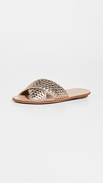 Loeffler Randall Claudie Woven Crossed Plank Slides
