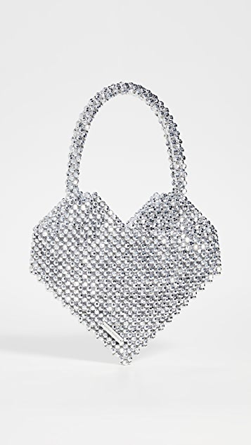 Loeffler Randall Объемная сумка с короткими ручками Maria Heart с бусинами