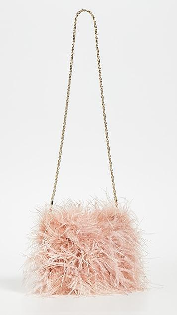 Loeffler Randall Прямоугольная сумка через плечо Zelda с отделкой перьями