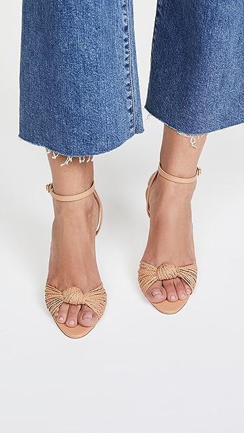 Loeffler Randall Rosalind 梭织结饰坡跟凉鞋
