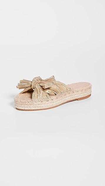 Loeffler Randall Juniper 裥褶结饰麻编平底鞋