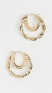 Loeffler Randall Holly Double Hoop Twisted Earrings