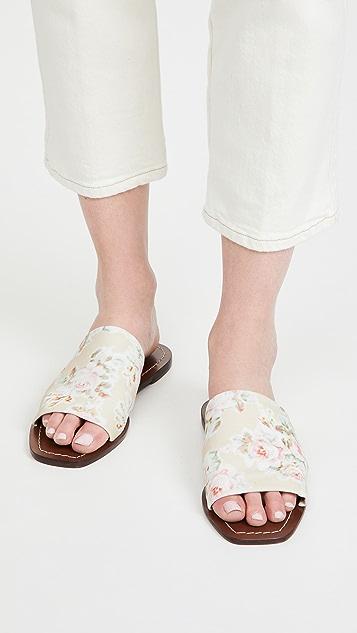 Loeffler Randall Daria Stretch Square Toe Slide Sandals
