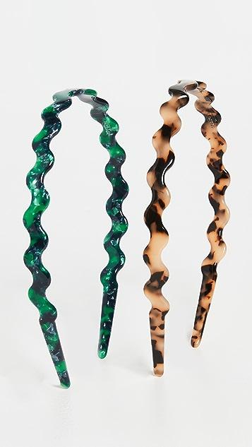 Loeffler Randall Rhona Wavy Resin Headband Set