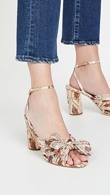 Loeffler Randall Pleated Knot Heeled Sandals With Ankle Strap