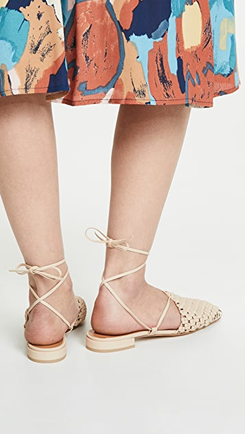 LOQ Costa Woven Lace Up Flats