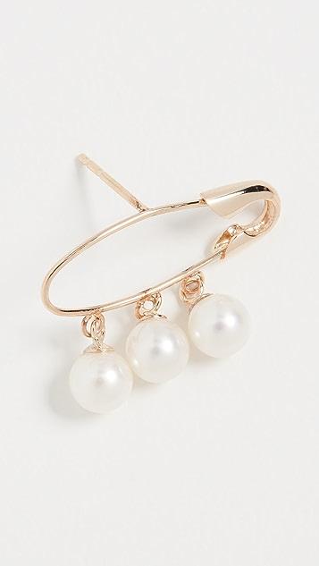 Loren Stewart 14k Triple Pearl Safety Pin Earring