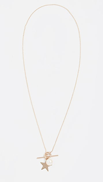 Loren Stewart 14k Star and Pearl Toggle Necklace
