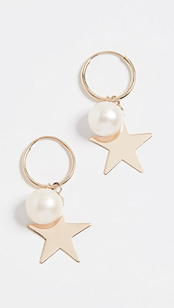 Loren Stewart 14k Star and Pearl Hoop Earrings