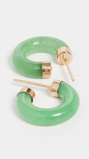 Loren Stewart Миниатюрные серьги-кольца из 14-каратного золота с камнями