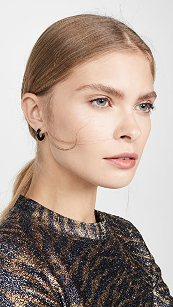 Loren Stewart 14k Mini Stone Hoop Earrings
