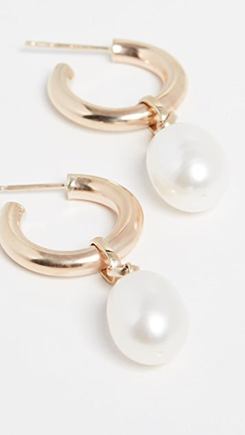 Loren Stewart 10k Teardrop Cultured Pearl Huggie Earrings