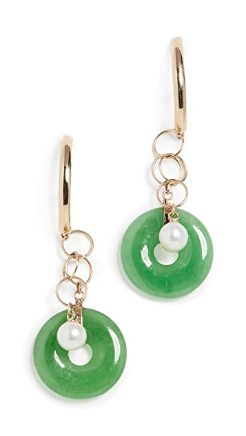 Loren Stewart 14k Jade And Cultured Pearl Huggie Earrings