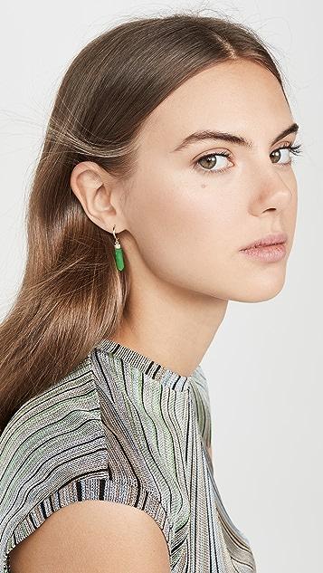 Loren Stewart 14k 绿色玛瑙 Paleta 耳环