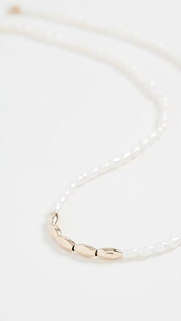Loren Stewart 14k 米形珍珠和金珠饰项链