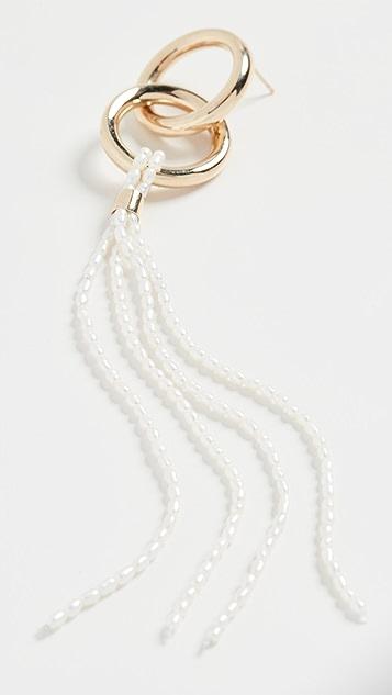 Loren Stewart Серьги-кольца из звеньев с кисточками и жемчугом