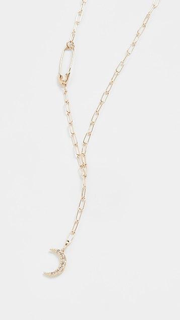 Loren Stewart 14k Lunar Safety Pin Lariat Necklace