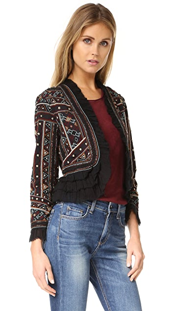 Love Sam Embroidered Jacket with Ruffle Trim